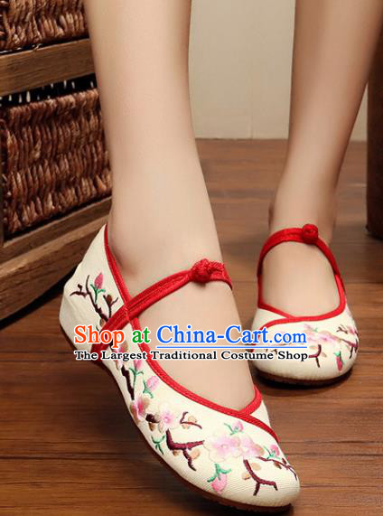 Chinese Ancient Handmade Embroidered Shoes Embroidery Plum Blossom Shoes for Women