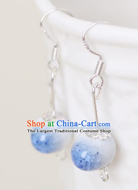 Top Grade Chinese Handmade Blue Earrings Jingdezhen Ceramics Ear Accessories for Women