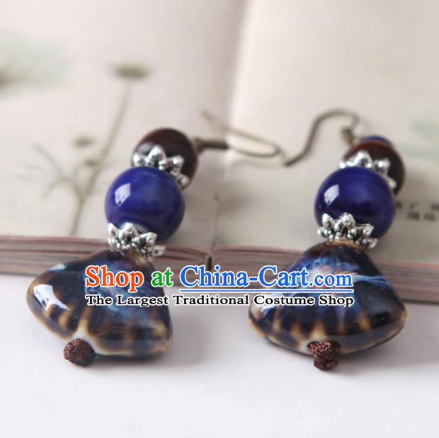 Top Grade Chinese Handmade Navy Ceramics Earrings for Women