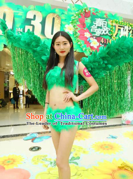 Top Grade Catwalks Swimsuit Wing Stage Performance Model Show Customized Green Feather Wings for Women