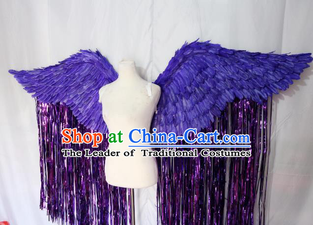 Top Grade Catwalks Swimsuit Wing Stage Performance Model Show Customized Purple Feather Wings for Women