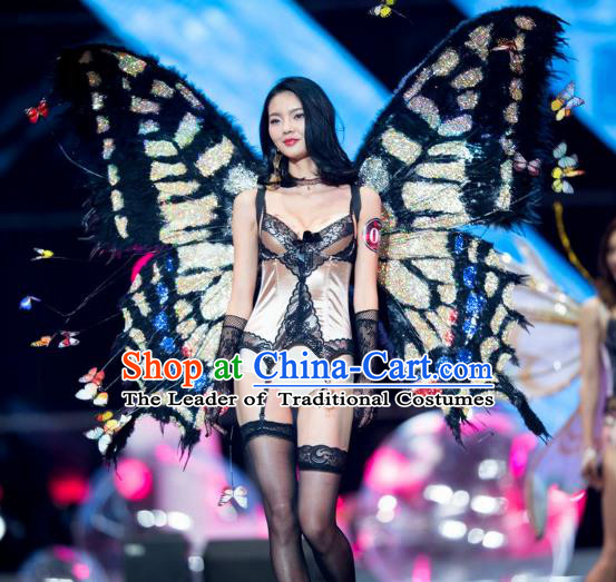 Top Grade Catwalks Swimsuit Wing Stage Performance Model Show Customized Black Butterfly Wings for Women