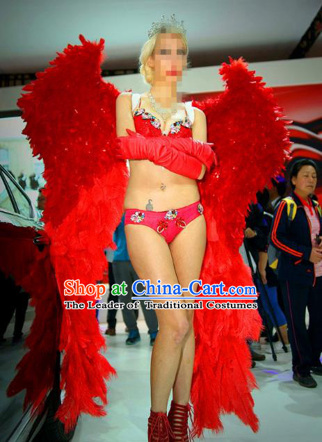Top Grade Catwalks Miami Deluxe Red Feather Wings Stage Performance Model Show Customized Wings for Women