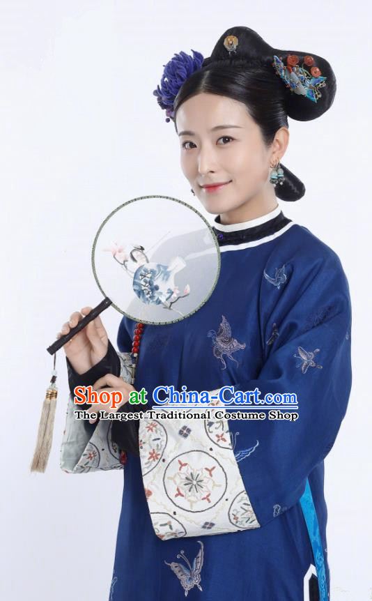 Ancient Story of Yanxi Palace Traditional Chinese Qing Dynasty Manchu Imperial Concubine Embroidered Costumes and Headpiece for Women
