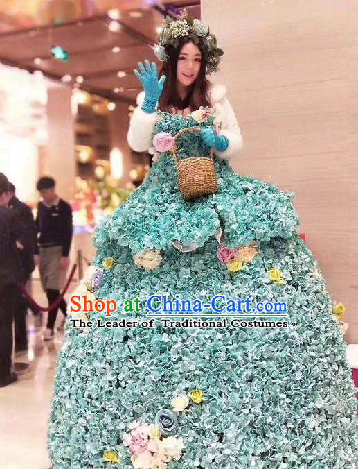 Top Grade Catwalks Costume Stage Performance Model Show Flower Fairy Green Dress for Women