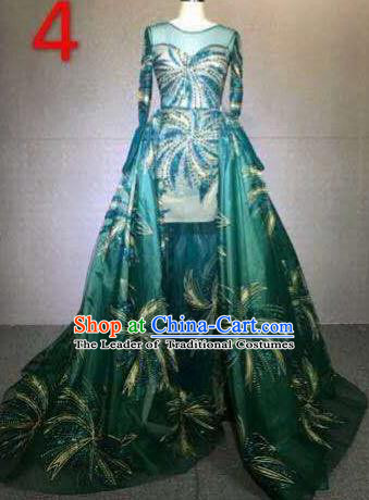 Top Grade Catwalks Customized Costume Stage Performance Model Show Green Dress for Women