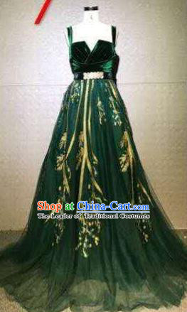 Top Grade Catwalks Customized Costume Stage Performance Model Show Green Full Dress for Women