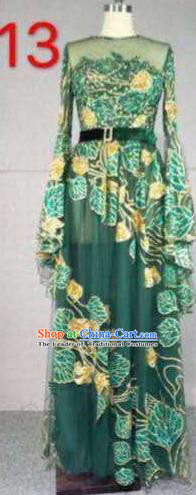 Top Grade Catwalks Customized Costume Green Veil Full Dress Stage Performance Model Show Clothing for Women