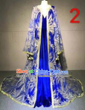 Top Grade Catwalks Customized Costume Model Show Royalblue Full Dress for Women