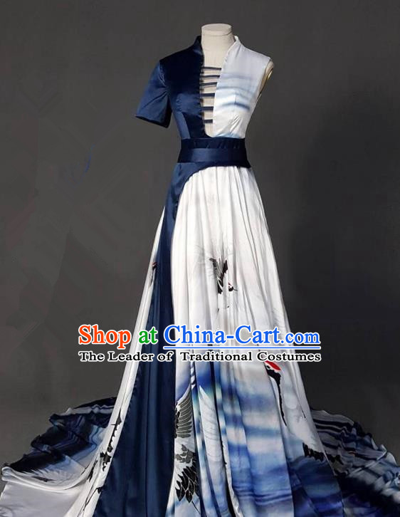 Top Grade Chinese Catwalks Customized Costume Model Show Printing Crane Full Dress for Women