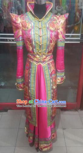 Chinese Traditional Folk Dance Costume Mongol Nationality Rosy Dress for Women