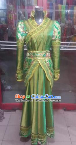 Chinese Traditional Mongolian Folk Dance Costume China Mongol Nationality Green Dress for Women