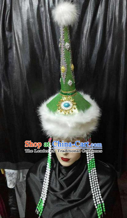 Chinese Traditional Mongolian Princess Green Hats China Mongol Nationality Wedding Headwear for Women