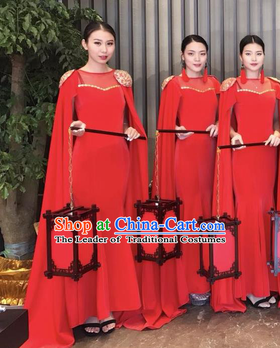 Top Grade Catwalks Costume Chinese Stage Performance Model Show Red Dress for Women