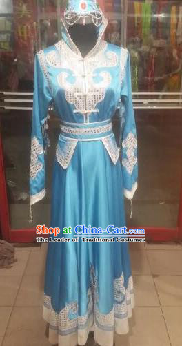 Chinese Traditional Mongolian Folk Dance Costume China Mongol Nationality Blue Dress for Women