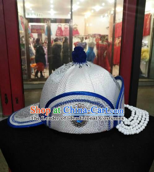 Chinese Traditional Mongolian Folk Dance White Hats Mongol Nationality Headwear for Women