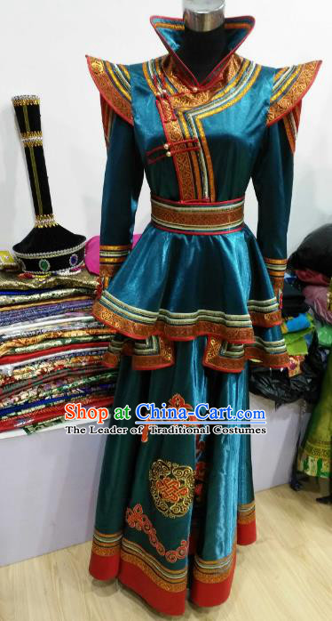 Chinese Traditional Mongolian Folk Dance Dress China Mongol Nationality Bride Costume for Women