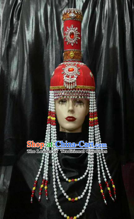 Chinese Traditional Mongolian Wedding Red Hats China Mongol Nationality Bride Headwear for Women