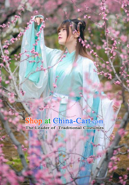 Traditional Chinese Ancient Princess Embroidered Costume Jin Dynasty Palace Lady Hanfu Dress for Women