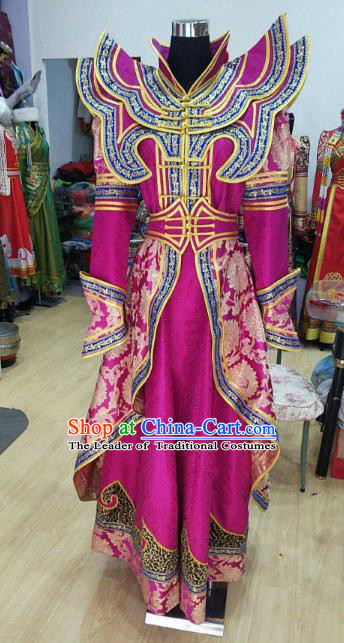 Chinese Traditional Mongolian Rosy Dress China Mongol Nationality Folk Dance Costume for Women