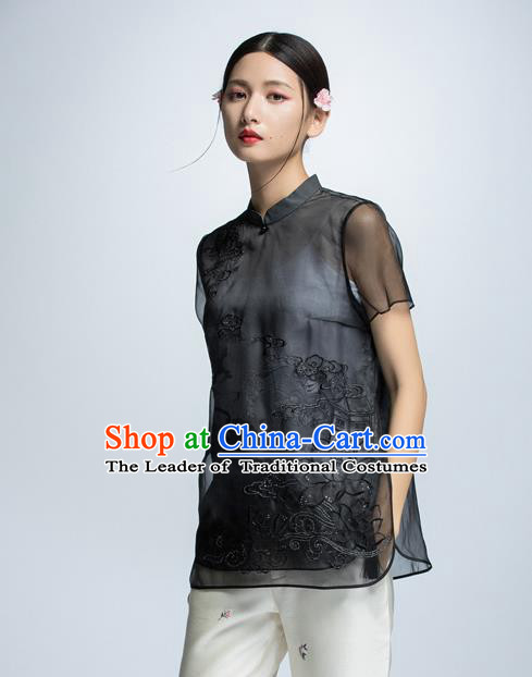 Chinese Traditional Embroidered Cheongsam Blouse China National Costume for Women