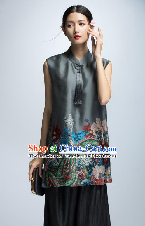 Chinese Traditional Costume Silk Cheongsam Blouse China National Upper Outer Garment for Women