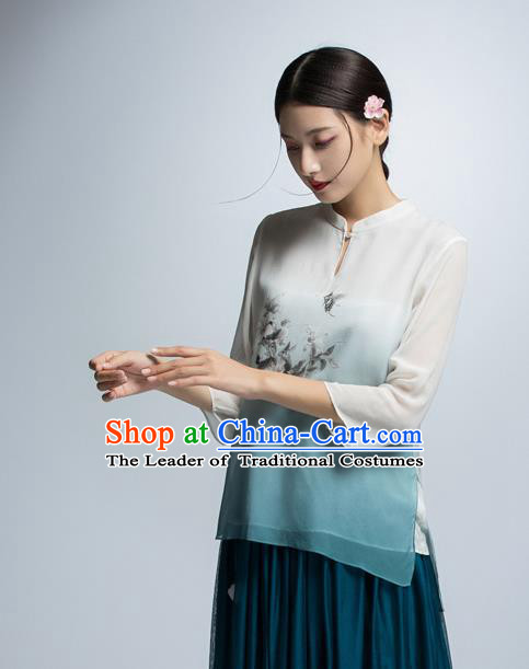 Chinese Traditional Costume Printing Cheongsam Blouse China National Upper Outer Garment Shirt for Women