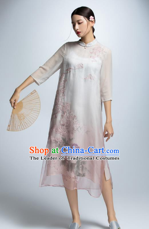 Chinese Traditional Embroidered Lotus Cheongsam Dress China National Costume for Women