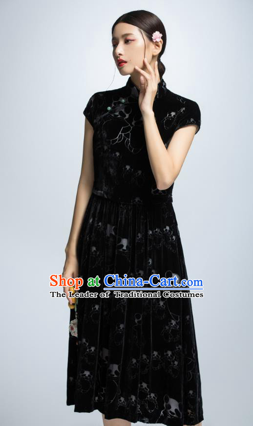 Chinese Traditional Black Cheongsam Dress China National Costume for Women