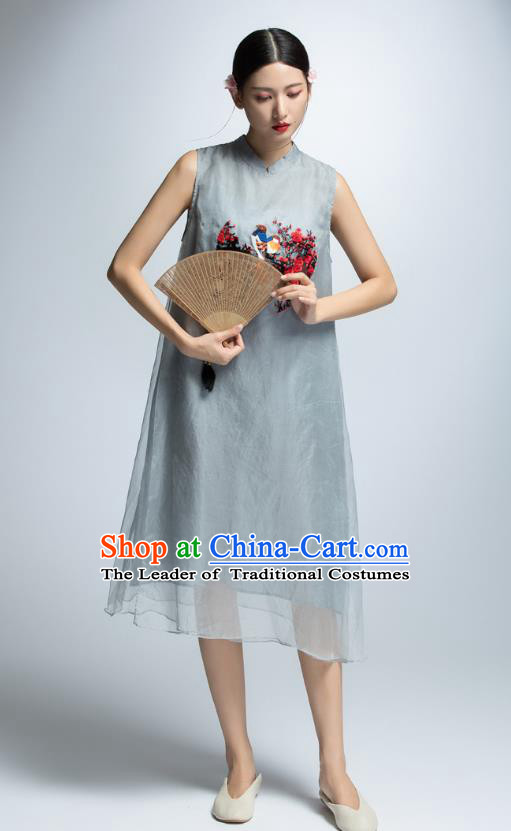 Chinese Traditional Embroidered Grey Cheongsam Dress China National Costume for Women
