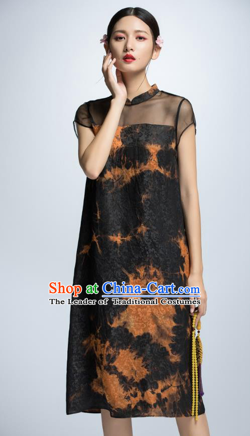 Chinese Traditional Printing Black Cheongsam Dress China National Costume for Women
