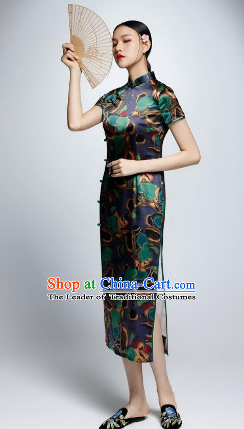 Chinese Traditional Silk Cheongsam China National Costume Qipao Dress for Women