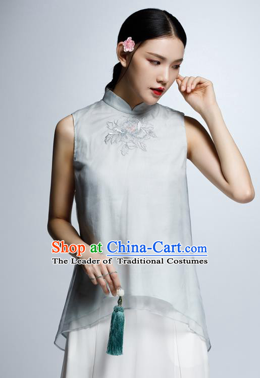 Chinese Traditional Costume Embroidered Grey Cheongsam Blouse China National Upper Outer Garment Shirt for Women