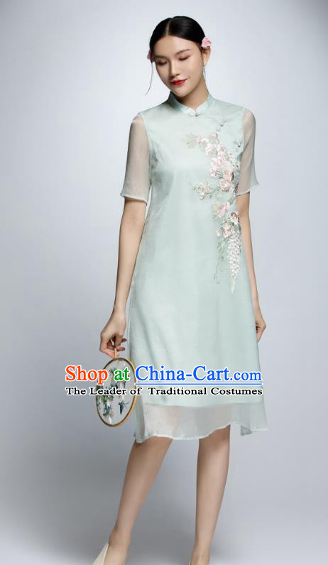 Chinese Traditional Embroidered Green Cheongsam China National Costume Qipao Dress for Women