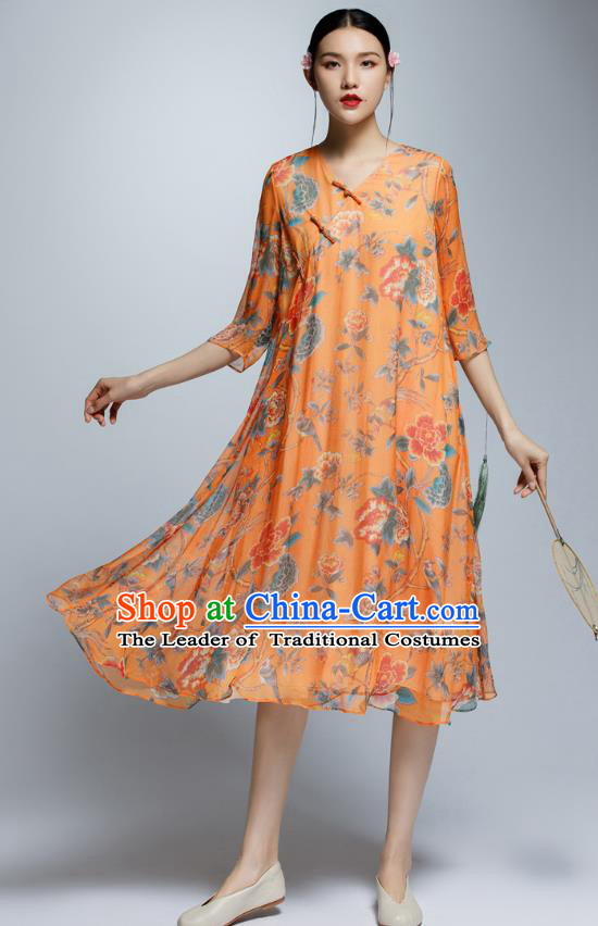 Chinese Traditional Printing Orange Cheongsam China National Costume Qipao Dress for Women