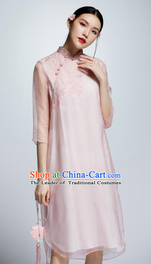 Chinese Traditional Embroidered Pink Cheongsam China National Costume Qipao Dress for Women