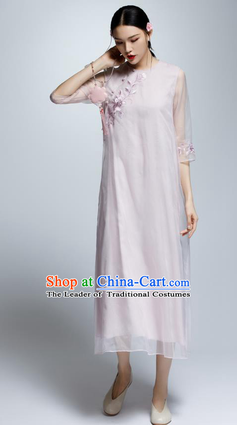 Chinese Traditional Embroidered Lilac Cheongsam China National Costume Qipao Dress for Women
