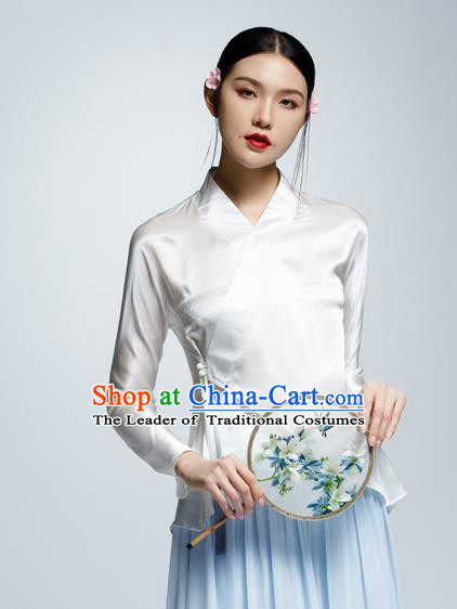 Chinese Traditional Costume White Silk Blouse China National Upper Outer Garment Shirt for Women