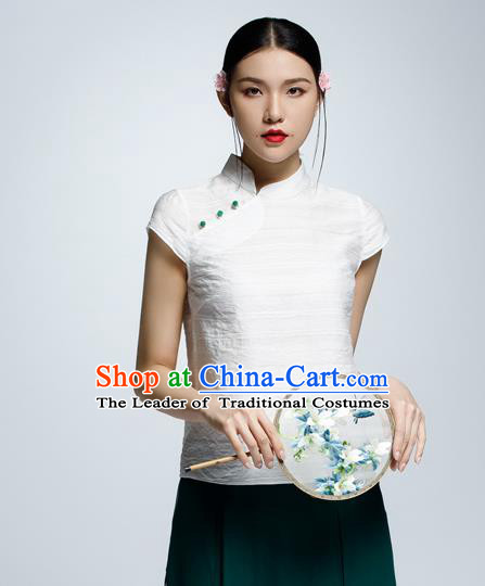 Chinese Traditional Costume White Cheongsam Blouse China National Upper Outer Garment Shirt for Women