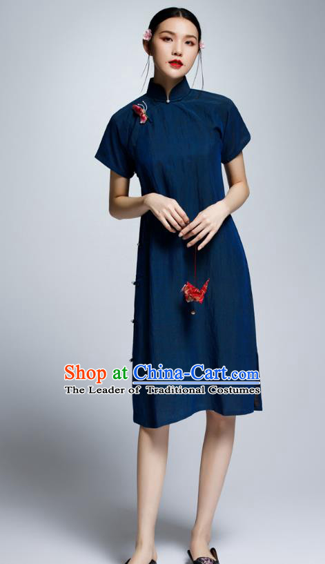 Chinese Traditional Navy Cheongsam China National Costume Tang Suit Qipao Dress for Women