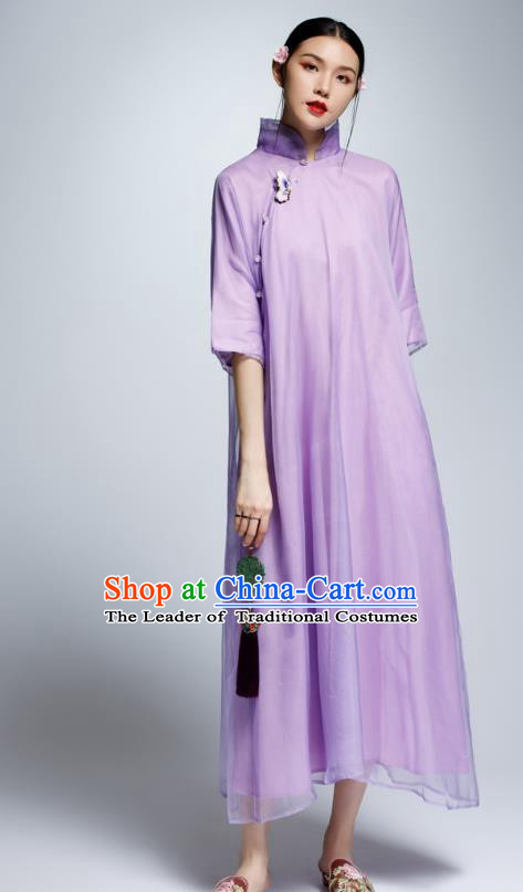 Chinese Traditional Purple Cheongsam China National Costume Tang Suit Qipao Dress for Women