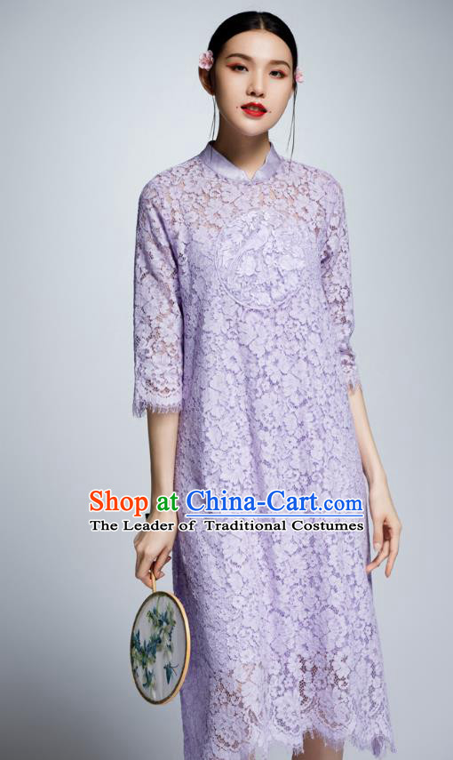 Chinese Traditional Embroidered Purple Lace Cheongsam China National Costume Tang Suit Qipao Dress for Women