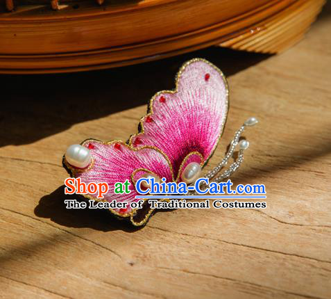 Chinese Traditional Cheongsam Accessories Embroidered Pink Butterfly Brooch for Women