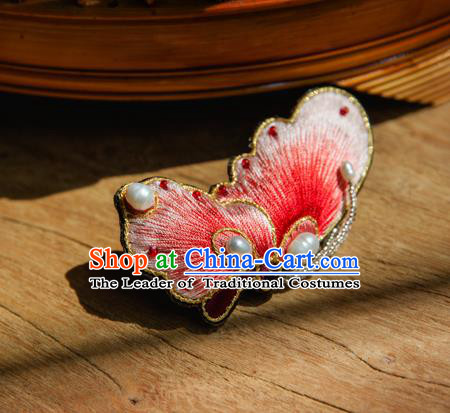 Chinese Traditional Cheongsam Accessories Embroidered Red Butterfly Brooch for Women