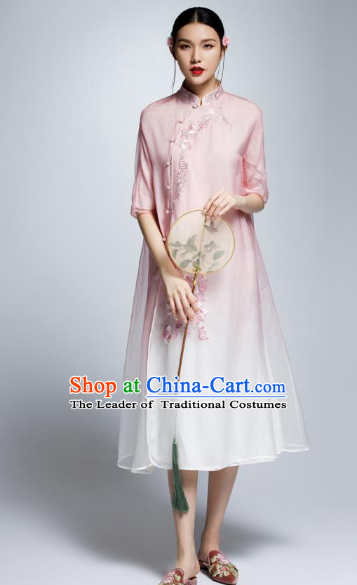 Chinese Traditional Pink Organza Cheongsam China National Costume Tang Suit Qipao Dress for Women
