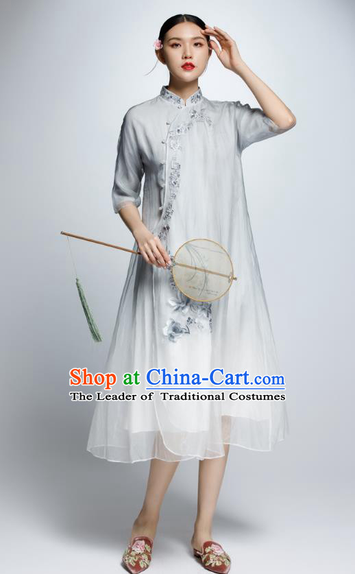 Chinese Traditional Grey Organza Cheongsam China National Costume Tang Suit Qipao Dress for Women