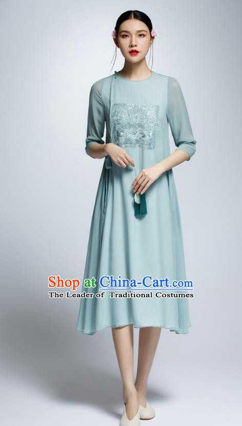Chinese Traditional Embroidered Green Cheongsam China National Costume Tang Suit Qipao Dress for Women