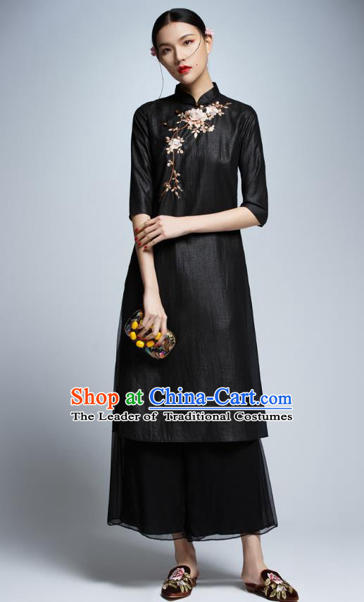 Chinese Traditional Black Cheongsam China National Costume Tang Suit Qipao Dress for Women