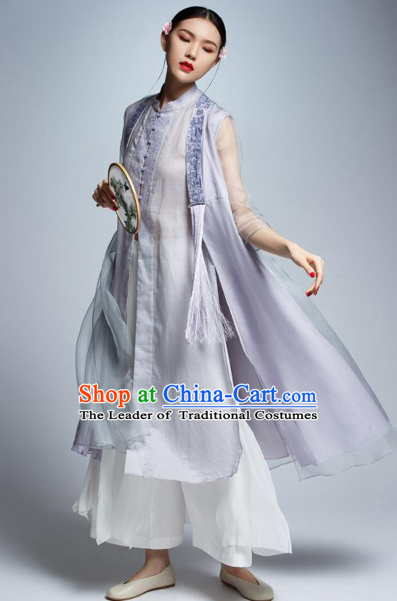 Chinese Traditional Embroidered Organza Lilac Cheongsam China National Costume Tang Suit Qipao Dress for Women
