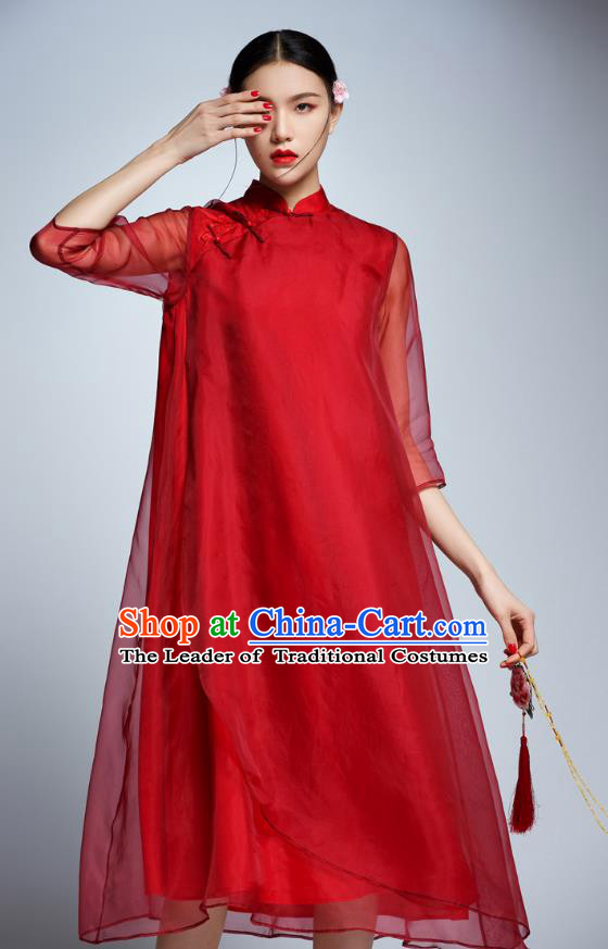 Chinese Traditional Red Organza Cheongsam China National Costume Tang Suit Qipao Dress for Women